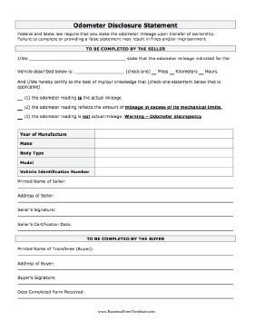 Odometer Statement Business Form Template