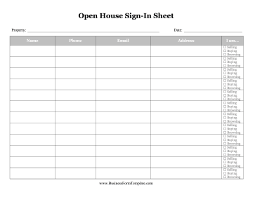 Open House Sign In Sheet Business Form Template