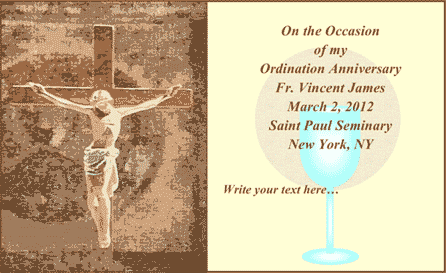 Ordination Anniversary Card (2 per page) Business Form Template