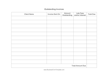 Outstanding Invoices Business Form Template