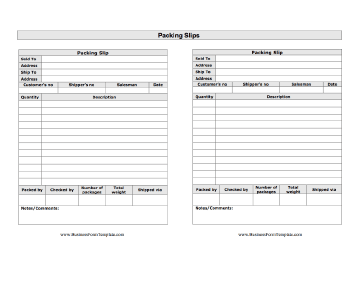 Packing Slips Multiple Business Form Template