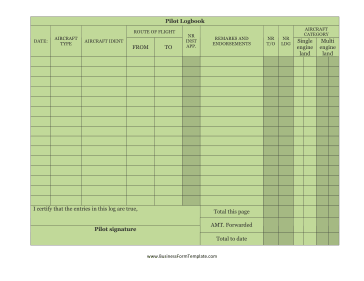 Pilot Logbook Business Form Template