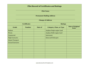 Pilot Record of Certificates and Ratings Business Form Template