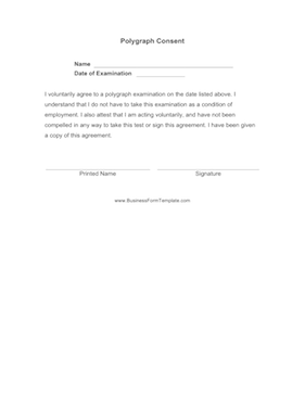 Polygraph Consent Business Form Template