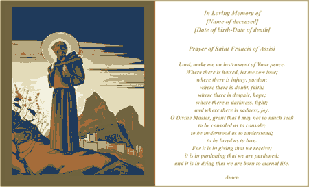 Prayer Of Saint Francis Funeral Card (2 per page) Business Form Template