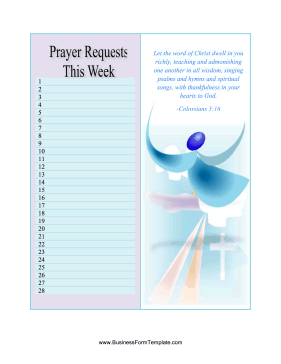 Prayer Requests Business Form Template