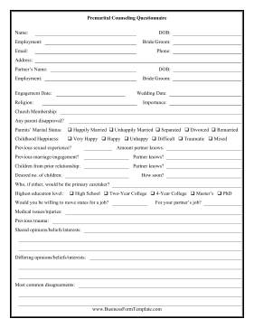 Premarital Counseling Questionnaire Business Form Template