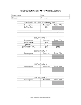 Production Assistant Breakdown Business Form Template