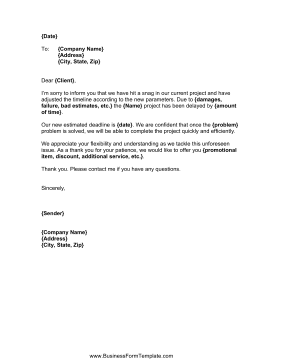 Project delay letter template project delay letter business form template altavistaventures Image collections