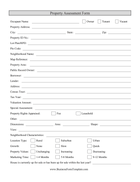 Property Appraisal Form Business Form Template