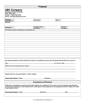 Proposal Form Business Form Template