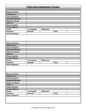 Publication Submission Tracker Business Form Template