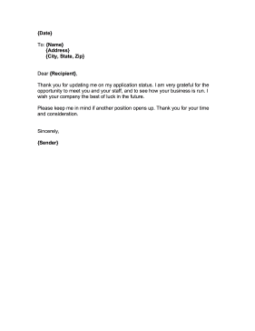 Rejection Response Letter Business Form Template