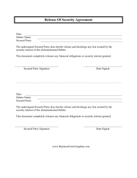 Release Of Security Agreement Business Form Template