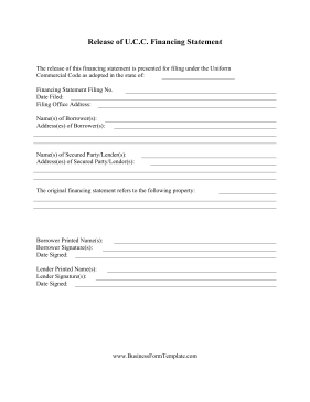 Release Of UCC Financing Statement Business Form Template