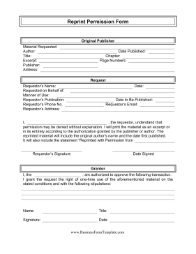 Reprint Permission Form Template