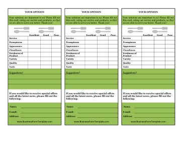 Restaurant Your Opinion Card Business Form Template