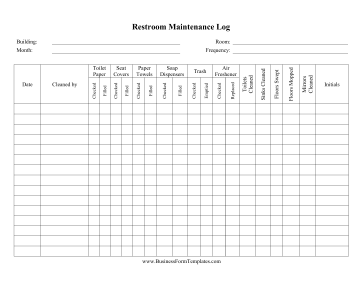 daily cleaning log template Restroom Cleaning Checklist Template
