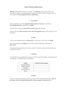 Room rental agreement template for Boarder agreement template