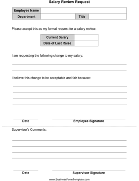 Salary Review Request Business Form Template