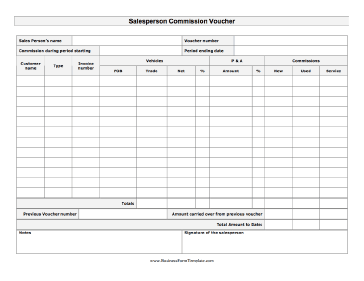Salesperson Commission Voucher Business Form Template