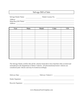 Salvage Bill Of Sale Business Form Template