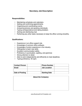 Secretary Job Description | Secretary Job Description Template
