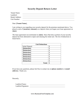 Security Deposit Return Letter Business Form Template