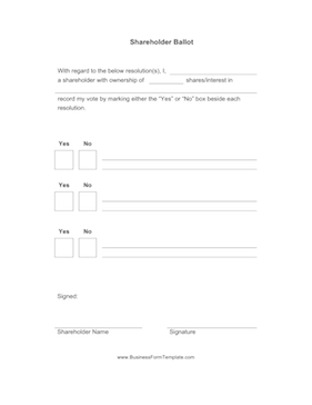 Shareholder Ballot Business Form Template