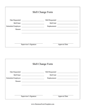 Shift Change Form Business Form Template