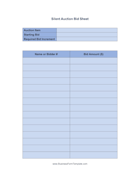silent auction bid sheet business form template