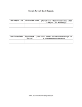 Simple Payroll Cost Report Business Form Template