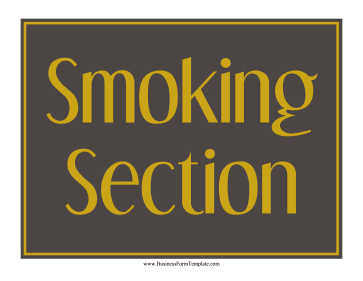 Smoking Section Sign Business Form Template