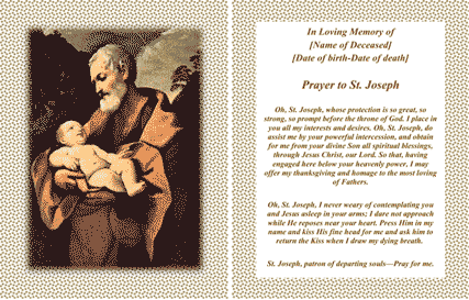 St Joseph Funeral Card (2 per page) Business Form Template