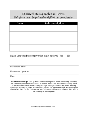 Stained Items Release Form Business Form Template