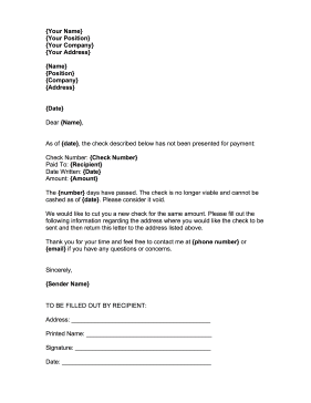 Stop Payment Check Recipient Business Form Template