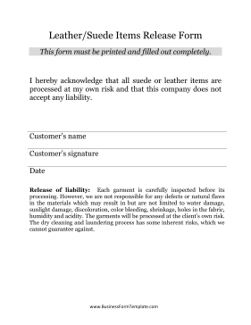 Suede Leather Items Release Form Business Form Template
