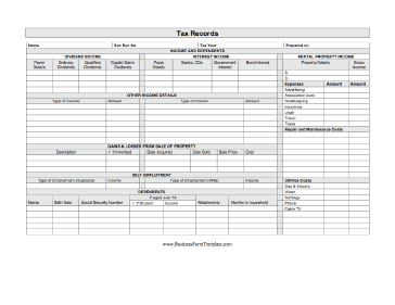Tax Records Business Form Template