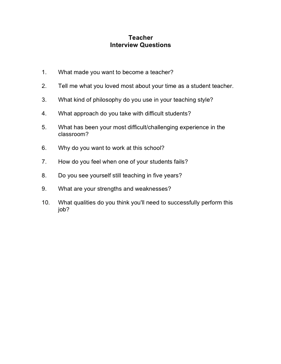 teacher interview questions business form template