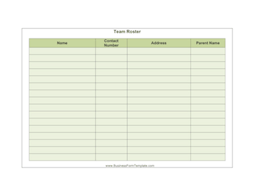 Printable Business Form Templates. Team Roster Business Form Template  Blank Roster Sheet
