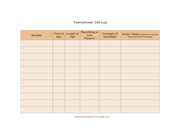 Telemarketer Call Log Business Form Template