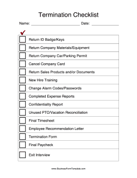 Termination checklist template for Employee or independent contractor checklist template