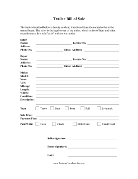 Trailer Bill Of Sale Business Form Template