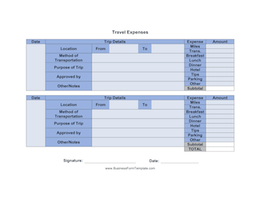 Travel Expenses Business Form Template