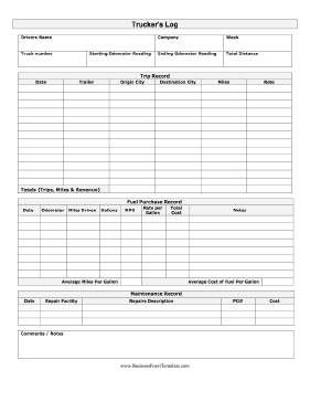 Trucker log template for Truckers log book template