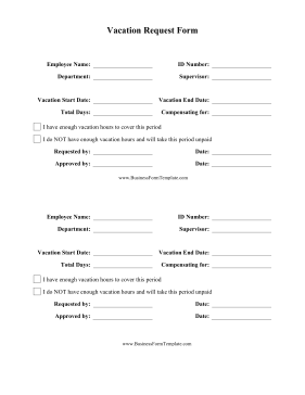 Vacation Request Form Business Form Template