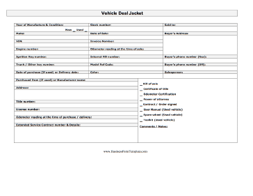Vehicle Deal Jacket Business Form Template