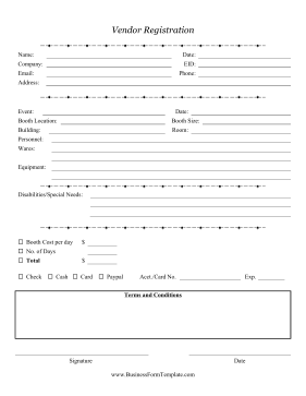 Vendor Registration Form Business Form Template  Paper Registration Form Template