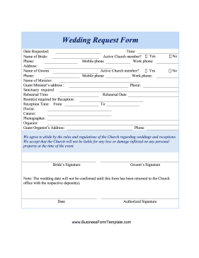 Wedding Request  Form Business Form Template