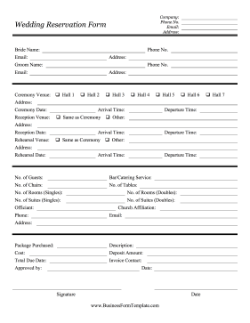 Wedding Reservation Form Business Form Template
